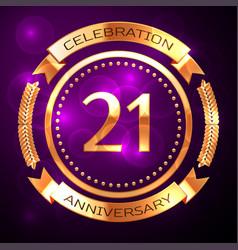 twenty one years anniversary celebration with vector image vector image