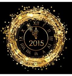 2015 - shiny New Year Clock vector image vector image