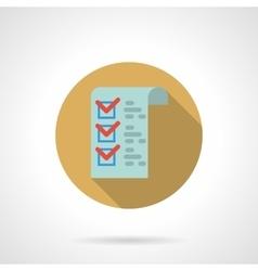 Checklist button flat color design icon vector image vector image