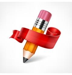 Pencil Ribbon Wooden vector image vector image
