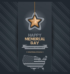 poster for memorial day with map of the usa vector image vector image