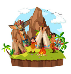two american natives at the campsite vector image