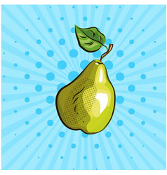 big green pear on blue background lines dots vector image vector image