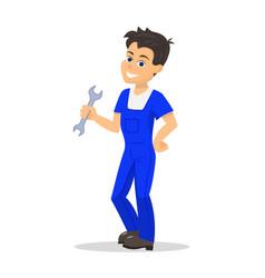 cartoon handyman man wrench vector image