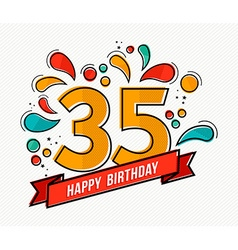 Colorful happy birthday number 35 flat line design vector image