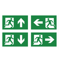 fire exit icon set vector image vector image