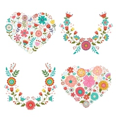 Floral wreaths and hearts collection vector