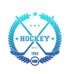hockey emblem logo with crossed sticks blue over vector image vector image