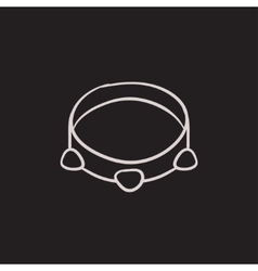 Tambourine sketch icon vector image