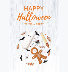 halloween festive poster with treats vector image