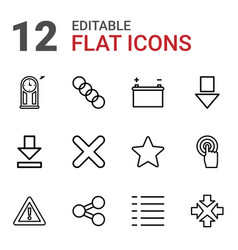 12 interface icons vector