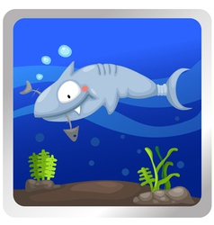 a shark underwater background vect vector image