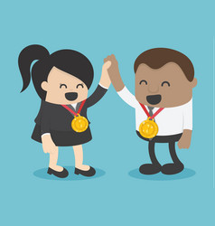 african businessman and businesswoman winner vector image