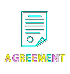 agreement template of document colorful poster vector image