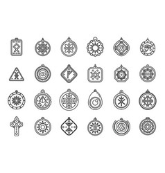 Amulet icons set outline china coin vector