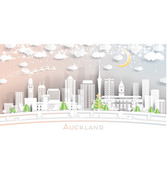 Auckland new zealand city skyline in paper cut vector