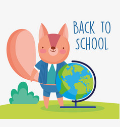 Back to school education squirrel map vector
