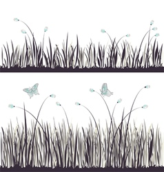 Background grass with butterflies vector