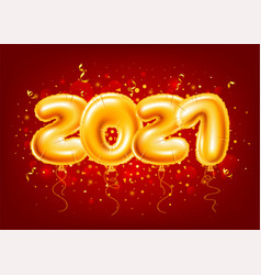Balloons numbers 2021 on red festive background vector