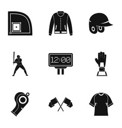 baseball goods icons set simple style vector image