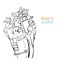 bear selfie many bears do self photo vector image