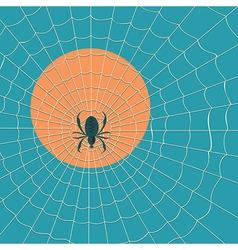 Big dark spider on the web vector image