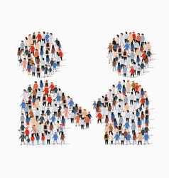 big group people in form handshake symbol vector image
