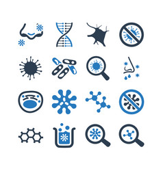 biology icons - blue version vector image