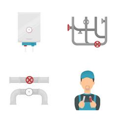 Boiler plumber ventils and pipesplumbing set vector