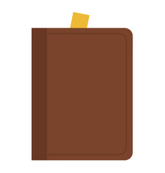 book in a brown leather cover flat isolated vector image