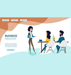 business analysis service flat web banner vector image