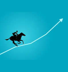 Businessman on horseback running on graphic chart vector
