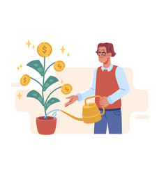 businessman watering money tree in pot investment vector image