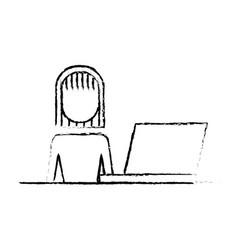 businesswoman sitting desk laptop working vector image