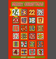 cartoon advent calendar vector image