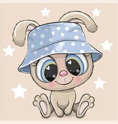Cartoon rabbit in a blue panama hat vector