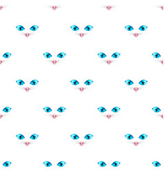 cat blue eye seamless on white background vector image