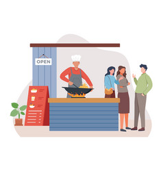 chef fry food in a wok vector image