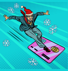 christmas businessman and bank card speed extreme vector image