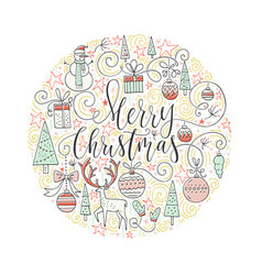 Christmas circle card vector