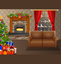 Christmas trees and gifts in the living room vector