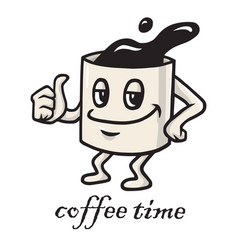 coffee cartoon character design doodle drawing vector image