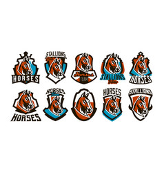 collection of colorful logos stickers emblems of vector image