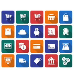collection of rounded square icons finance and vector image