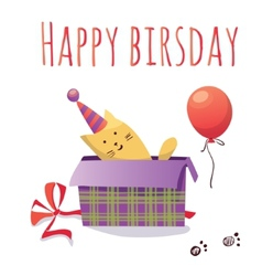 Colorful birthday card with cat box and balloon vector