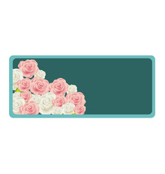 Colorful rectangular frame with bud roses floral vector