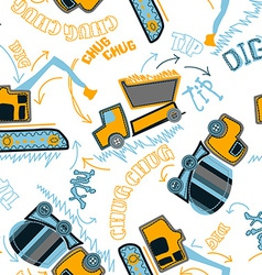 Construction vehicles pattern vector image