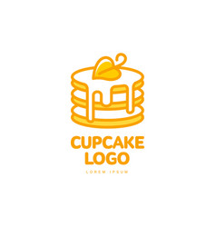 Cupcake sweet dessert food bright line logo vector