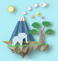 Cut birds elephant volcano and fly island vector