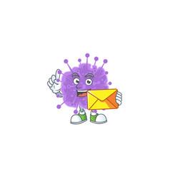 Cute face coronavirus influenza holding a envelope vector